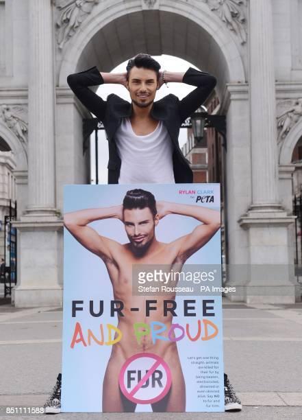 Rylan Clark unveils animal welfare group PETA's latest antifur campaign poster in London's Marble Arch