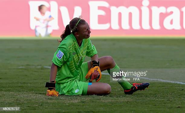 Rylee Forster goalkeeper of Canada looks dejected after the FIFA U17 Women's World Cup 2014 quarter final match between Venezuela and Canada at...