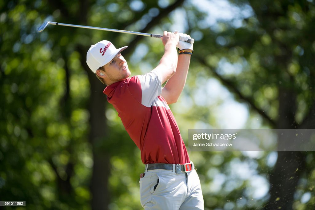 Rylee Reinertson of the University of Oklahoma tees off during the Division I Men's Golf Team Championship held at Rich Harvest Farms on May 31, 2017 in Sugar Grove, Illinois. Oklahoma won the team national title.