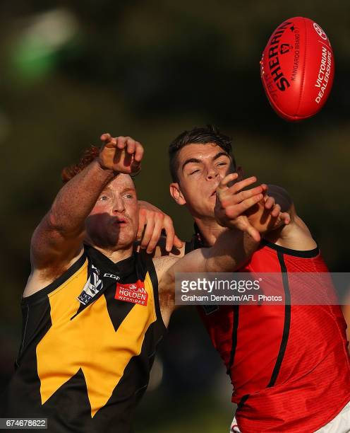 Ryley Barrack of Werribee competes in the air during the round three VFL match between Werribee and Essendon at North Melbourne Recreation Reserve on...