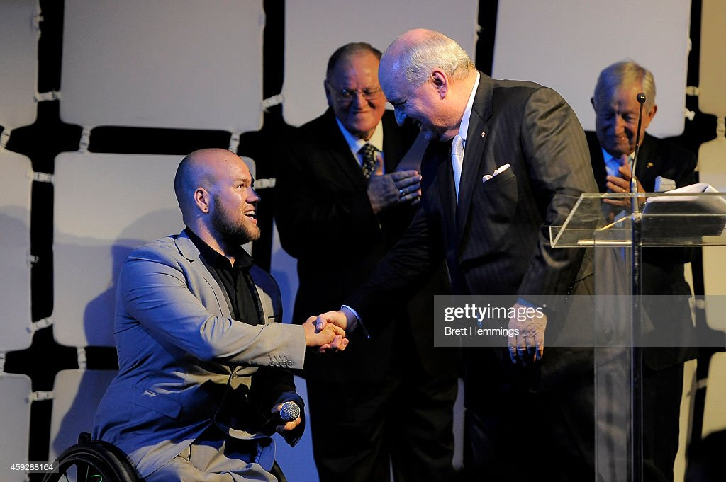 <a gi-track='captionPersonalityLinkClicked' href=/galleries/search?phrase=Ryley+Batt&family=editorial&specificpeople=4667246 ng-click='$event.stopPropagation()'>Ryley Batt</a> is congratulated by Alan Jones after receiving the Male Athlete of the Year award during the NSWIS Awards at Royal Randwick Racecourse on November 20, 2014 in Sydney, Australia.