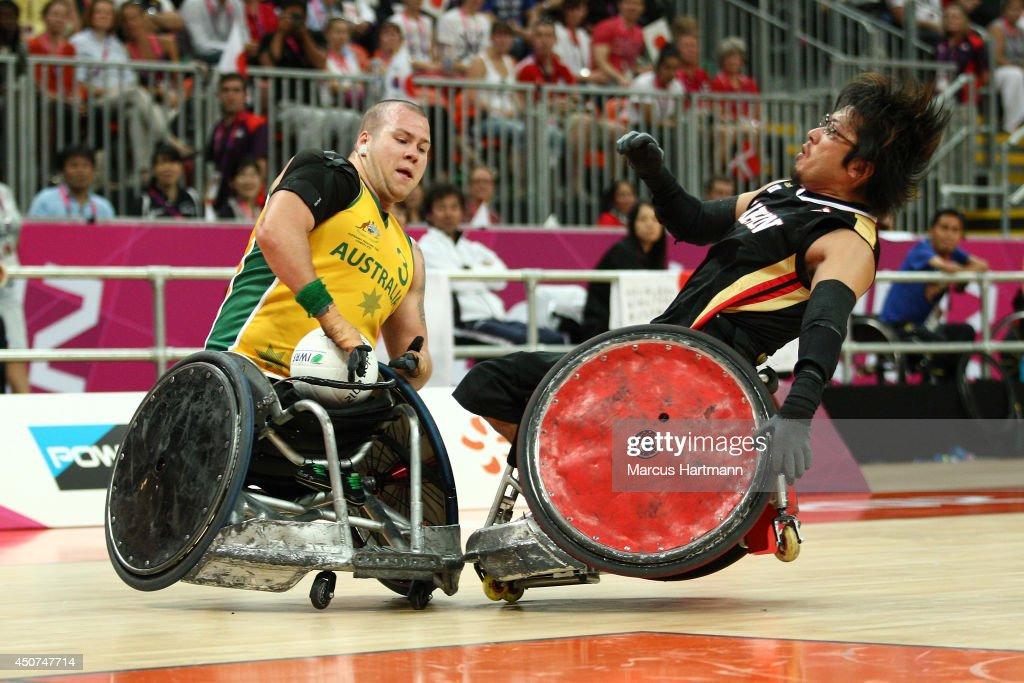 <a gi-track='captionPersonalityLinkClicked' href=/galleries/search?phrase=Ryley+Batt&family=editorial&specificpeople=4667246 ng-click='$event.stopPropagation()'>Ryley Batt</a> of Austrailia in action during the Mixed Wheelchair Rugby - Open semi-final match between Austrailia and Japan on day 10 of the London 2012 Paralympic Games at the Basketball Arena in the Olympic Park on September 8, 2012 in London, England.