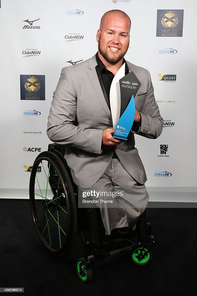 <a gi-track='captionPersonalityLinkClicked' href=/galleries/search?phrase=Ryley+Batt&family=editorial&specificpeople=4667246 ng-click='$event.stopPropagation()'>Ryley Batt</a> poses with his award for Regional Athlete of the Year during the NSWIS Awards at Royal Randwick Racecourse on November 20, 2014 in Sydney, Australia.