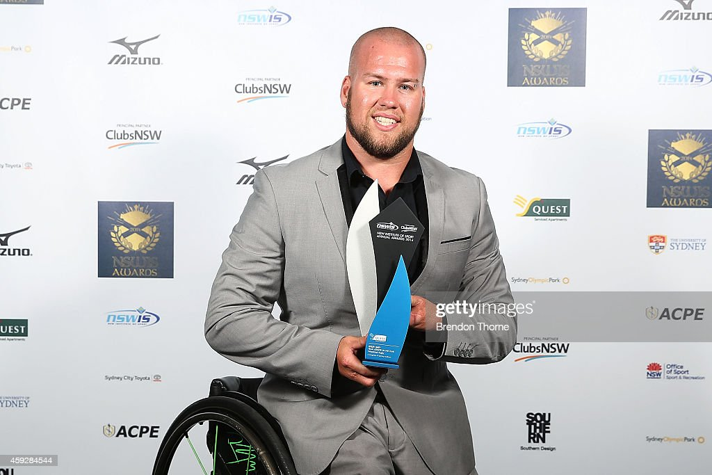 <a gi-track='captionPersonalityLinkClicked' href=/galleries/search?phrase=Ryley+Batt&family=editorial&specificpeople=4667246 ng-click='$event.stopPropagation()'>Ryley Batt</a> poses with his award for Team Athlete of the Year during the NSWIS Awards at Royal Randwick Racecourse on November 20, 2014 in Sydney, Australia.