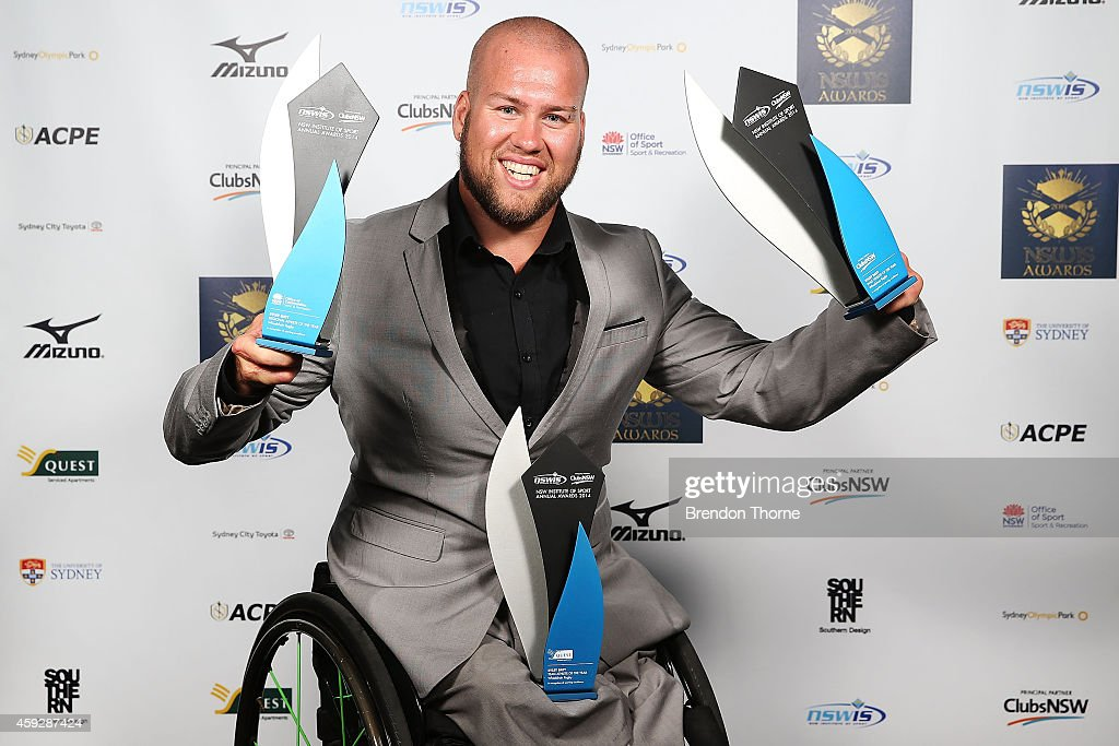 <a gi-track='captionPersonalityLinkClicked' href=/galleries/search?phrase=Ryley+Batt&family=editorial&specificpeople=4667246 ng-click='$event.stopPropagation()'>Ryley Batt</a> poses with his awards for Team Athlete of the Year, Regional Athlete of the Year and Male Athlete of the Year during the NSWIS Awards at Royal Randwick Racecourse on November 20, 2014 in Sydney, Australia.