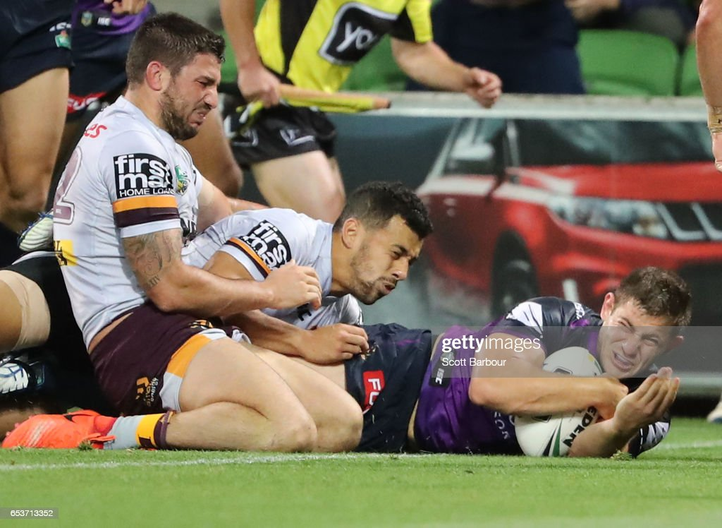 Ryley Jacks of the Melbourne Storm scores a try during the round three NRL match between the Melbourne Storm and the Brisbane Broncos at AAMI Park on March 16, 2017 in Melbourne, Australia.