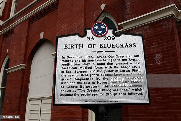 Ryman Auditorium 'Birth Of Bluegrass' historic marker on December 31 2015 in Nashville Tennessee