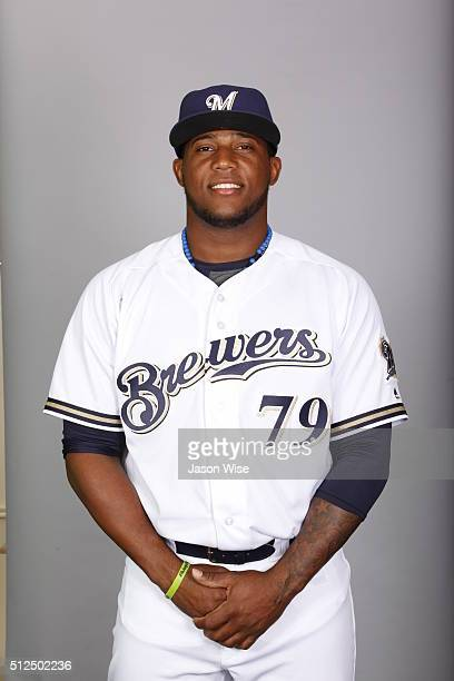 Rymer Liriano of the Milwaukee Brewers poses during Photo Day on Friday February 26 2016 at Maryvale Baseball Park in Phoenix Arizona