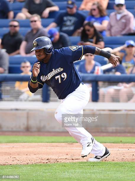 Rymer Liriano of the Milwaukee Brewers runs from first to second base against the San Diego Padres at Maryvale Baseball Park on March 7 2016 in...