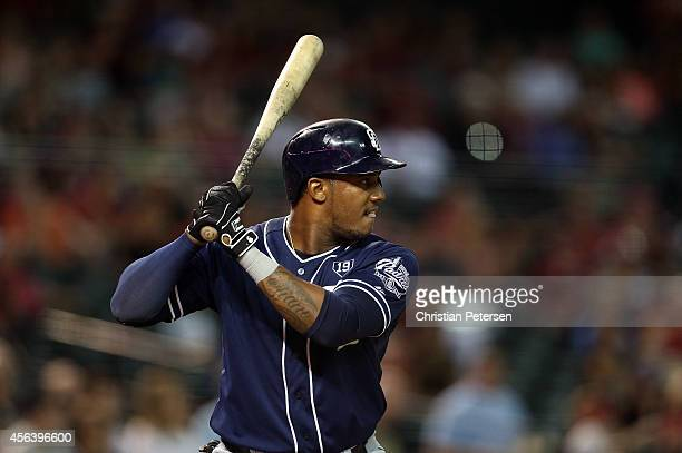 Rymer Liriano of the San Diego Padres at bat against the Arizona Diamondbacks during the MLB game at Chase Field on September 12 2014 in Phoenix...
