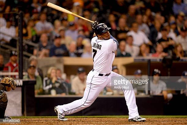 Rymer Liriano of the San Diego Padres hits in the game against the Milwaukee Brewers at Petco Park on August 26 2014 in San Diego California