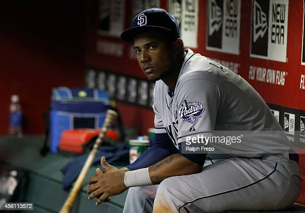 Rymer Liriano of the San Diego Padres looks on from the dugout during the eighth inning of a MLB game against the Arizona Diamondbacks at Chase Field...