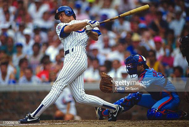 Ryne Sandberg of the Chicago Cubs bats against the Montreal Expos during an Major League Baseball game circa 1990 at Wrigley Field in Chicago...
