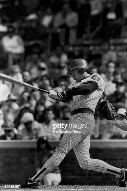 Ryne Sandberg of the Chicago Cubs bats circa 1980s
