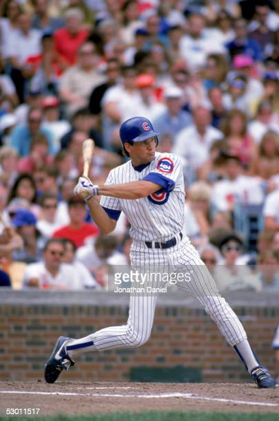 Ryne Sandberg of the Chicago Cubs bats during a game in the 1990 season at Wrigley Field in Chicago Illinois