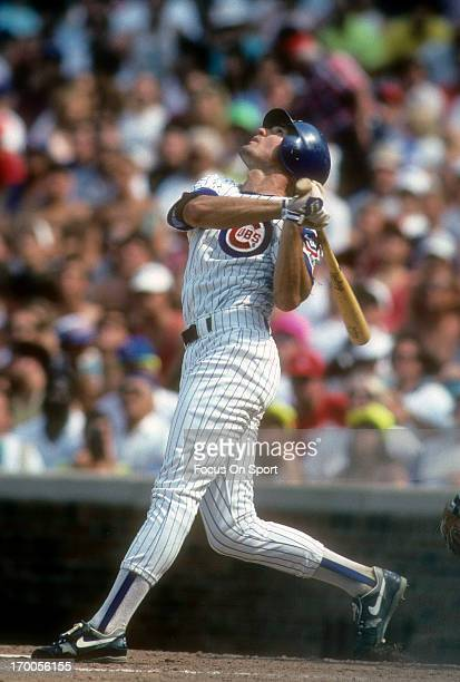 Ryne Sandberg of the Chicago Cubs bats during a MLB baseball game circa 1992 at Wrigley Field in Chicago Illinois Sandberg played for the Cubs from...