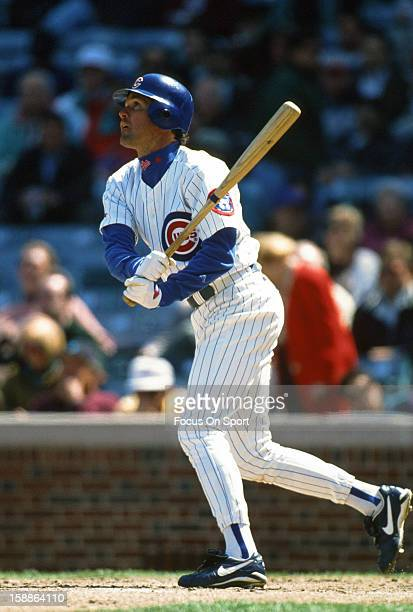 Ryne Sandberg of the Chicago Cubs bats during an Major League Baseball game circa 1996 at Wrigley Field in Chicago Illinois Sandberg played for the...