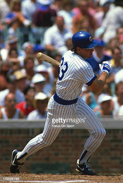 Ryne Sandberg of the Chicago Cubs bats during an Major League Baseball game circa 1985 at Wrigley Field in Chicago Illinois Sandberg played for the...