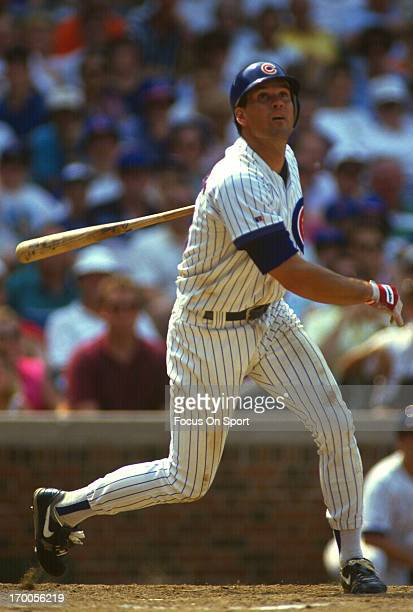 Ryne Sandberg of the Chicago Cubs bats during an Major League Baseball game circa 1993 at Wrigley Field in Chicago Illinois Sandberg played for the...