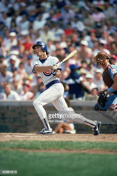 Ryne Sandberg of the Chicago Cubs bats during an MLB game at Wrigley Field in Chicago Illinois Ryne Sandberg played for the Chicago Cubs from 19821997