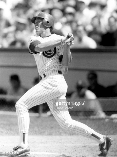 Ryne Sandberg of the Chicago Cubs bats during an MLB game circa 1990 at Wrigley Field in Chicago Illinois