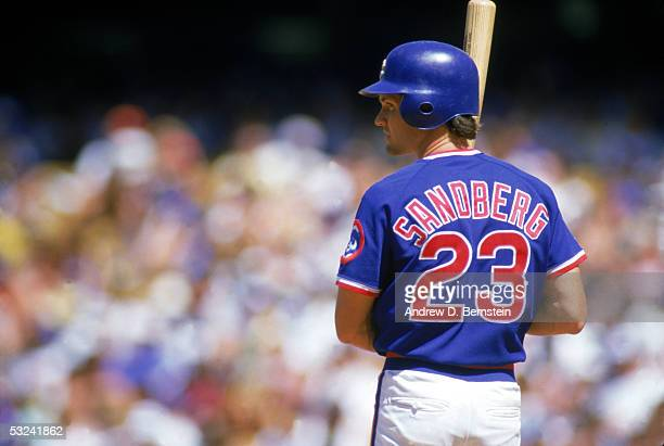 Ryne Sandberg of the Chicago Cubs readies for the pitch during a season game circa 1987 Ryne Sandberg played for the Chicago Cubs from 19821997