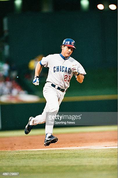 Ryne Sandberg of the Chicago Cubs runs against the St Louis Cardinals at Busch Stadium on June 25 1997 in St Louis Missouri The Cardinals beat the...