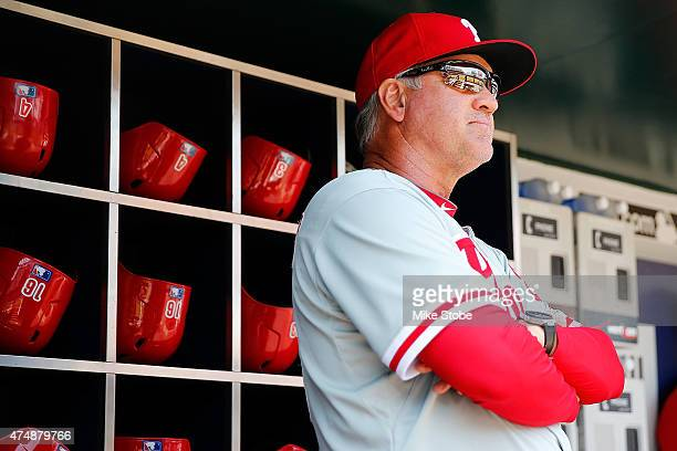 Ryne Sandberg of the Philadelphia Phillies looks on prior to the game against the New York Mets at Citi Field on May 27 2015 in Flushing neighborhood...
