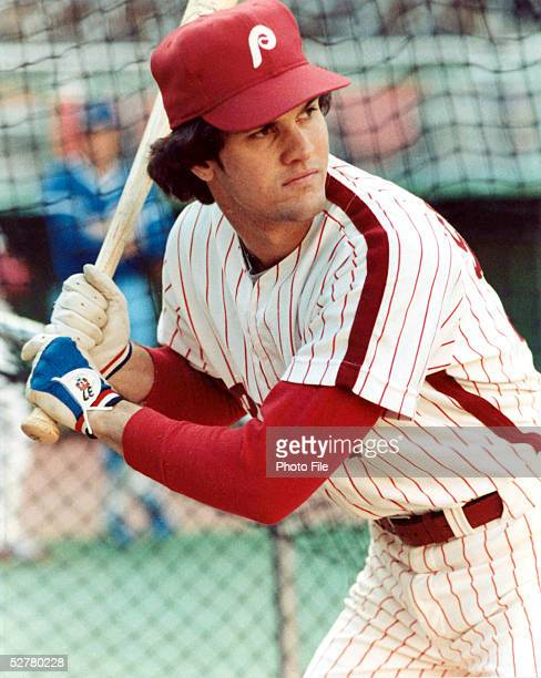 Ryne Sandberg of the Philadelphia Phillies waits in the batting cage before a game at Veterans Stadium during the 1981 season