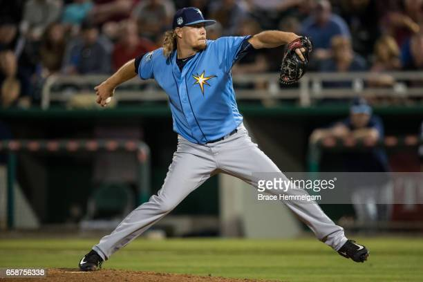 Ryne Stanek of the Tampa Bay Rays pitches against the Minnesota Twins on February 24 2017 at the CenturyLink Sports Complex in Fort Myers Florida
