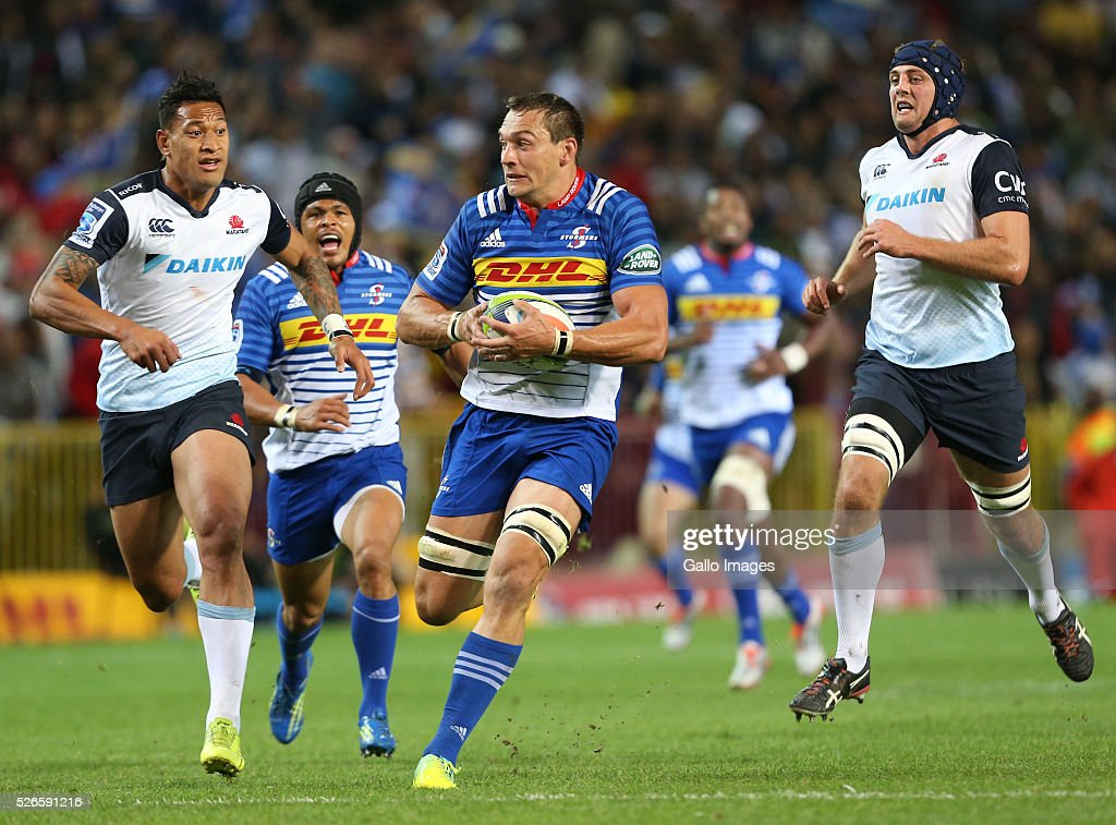 Rynhardt Elstadt of the Stormers during the Super Rugby match between DHL Stormers and Waratahs at DHL Newlands Stadium on April 30, 2016 in Cape Town, South Africa.