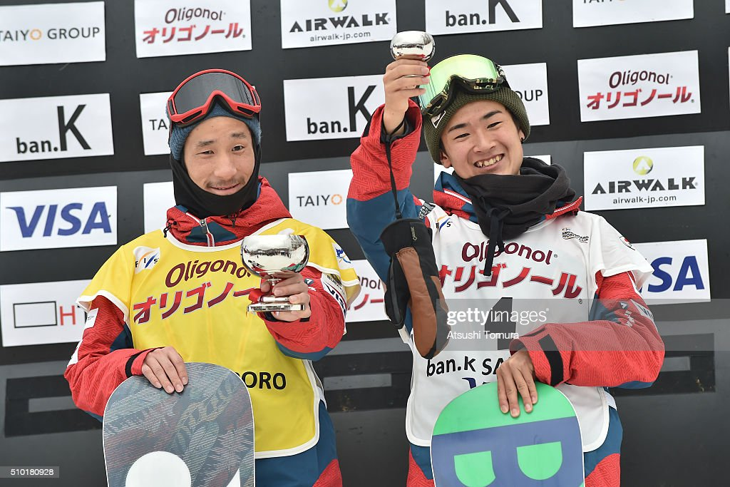 <a gi-track='captionPersonalityLinkClicked' href=/galleries/search?phrase=Ryo+Aono&family=editorial&specificpeople=4454247 ng-click='$event.stopPropagation()'>Ryo Aono</a> of Japan (1st) and Raibu Katayama of Japan (3rd) pose on the podium after the Men's Halfpipe during the FIS Snowboard World Cup at Sapporo Bankei Ski Area on February 14, 2016 in Sapporo, Japan.