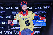 Ryo Aono of Japan celebrates a second place finish in the men's FIS Snowboard World Cup at the 2016 US Snowboarding Park City Grand Prix on February...