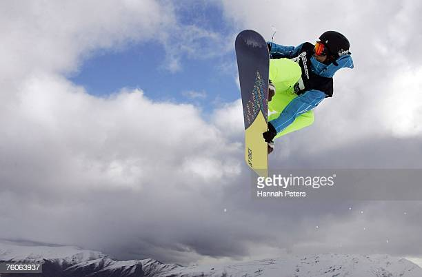 Ryo Aono of Japan competes in the Men's halfpipe final at the Burton New Zealand Open at Snowpark on August 12 2007 in Wanaka New Zealand
