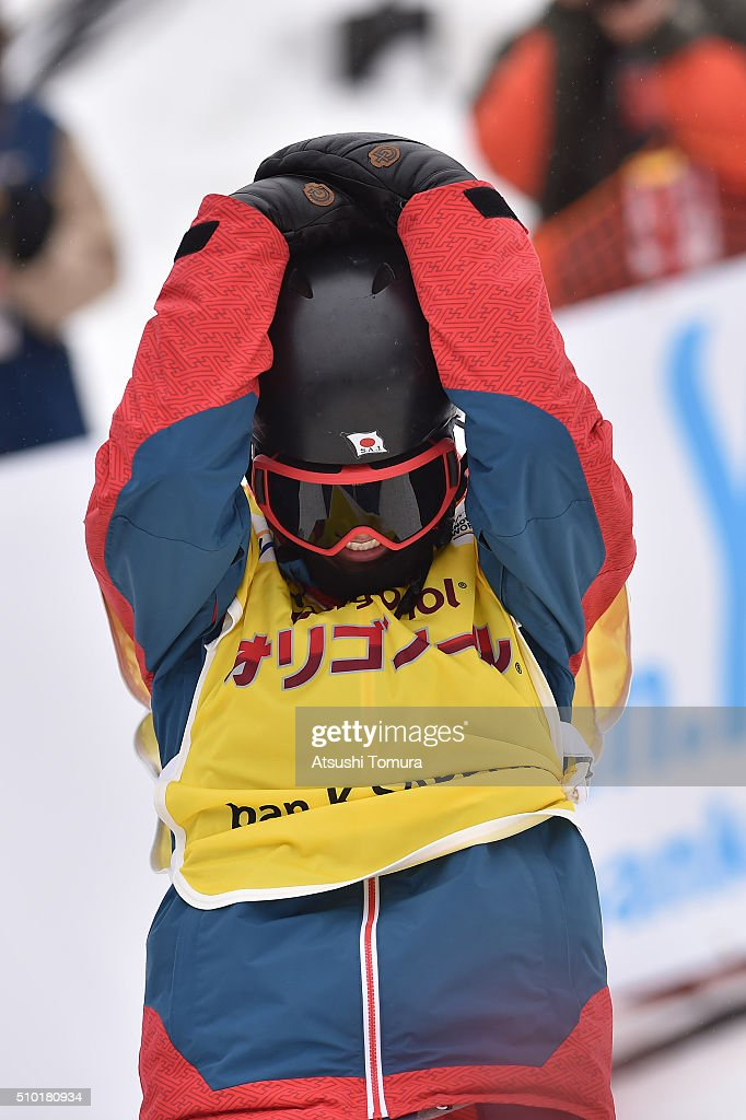 <a gi-track='captionPersonalityLinkClicked' href=/galleries/search?phrase=Ryo+Aono&family=editorial&specificpeople=4454247 ng-click='$event.stopPropagation()'>Ryo Aono</a> of Japan reacts after winning the Men's Halfpipe during the FIS Snowboard World Cup at Sapporo Bankei Ski Area on February 14, 2016 in Sapporo, Japan.