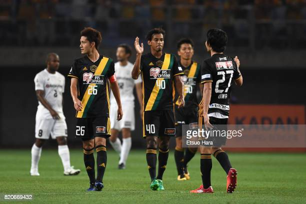 Ryo Germain of Vegalta Sendai celebrates scoring his side's second goal with his team mates during the preseason friendly match between Vegalta...