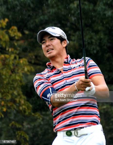 Ryo Ishikawa hits a tee shot during the first round of the Heiwa PGM Championship at Miho Golf Club on November 7 2013 in Miho Ibaraki Japan