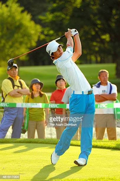 Ryo Ishikawa hits a tee shot on the 10th hole of the suspended first round during the second round of the Sun Chlorella Classic at Otaru Country Club...