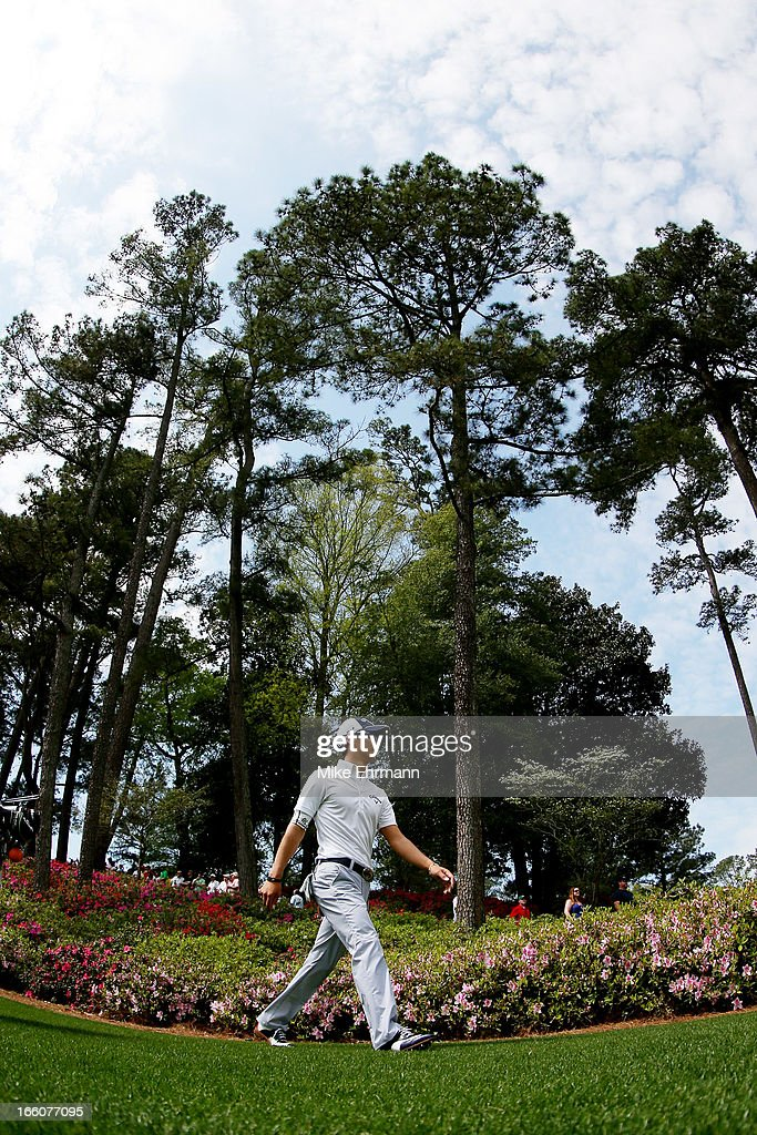 <a gi-track='captionPersonalityLinkClicked' href=/galleries/search?phrase=Ryo+Ishikawa&family=editorial&specificpeople=4297023 ng-click='$event.stopPropagation()'>Ryo Ishikawa</a> of Japan during a practice round prior to the start of the 2013 Masters Tournament at Augusta National Golf Club on April 8, 2013 in Augusta, Georgia.