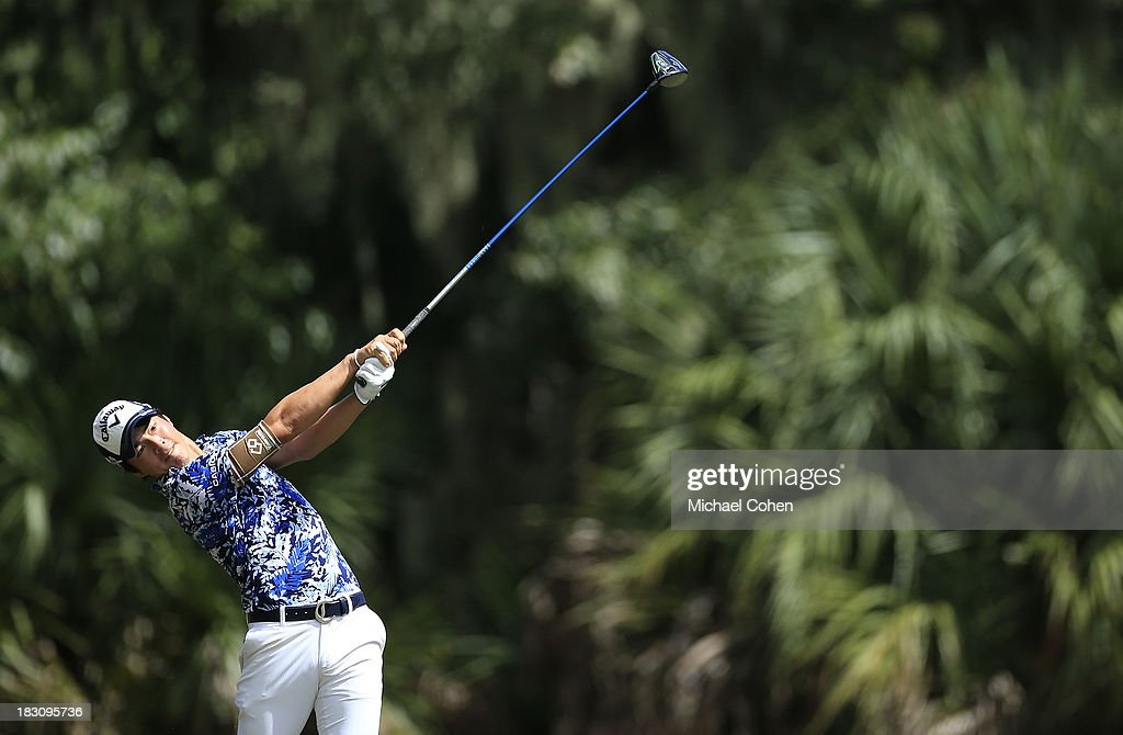 Ryo Ishikawa of Japan hits a drive during the final round of the Web.com Tour Championship held on the Dye's Valley Course at TPC Sawgrass on September 29, 2013 in Ponte Vedra Beach, Florida.