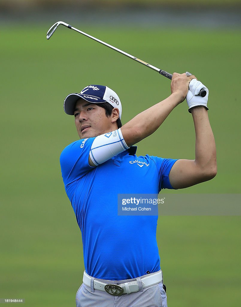 <a gi-track='captionPersonalityLinkClicked' href=/galleries/search?phrase=Ryo+Ishikawa&family=editorial&specificpeople=4297023 ng-click='$event.stopPropagation()'>Ryo Ishikawa</a> of Japan hits a shot during the first round of the Web.com Tour Championship held on the Dye's Valley Course at TPC Sawgrass on September 26, 2013 in Ponte Vedra Beach, Florida.