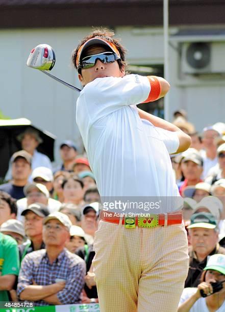 Ryo Ishikawa of Japan hits a tee shot during the second round of the Sun Chlorella Classic at Otaru Country Club on July 31 2009 in Otaru Hokkaido...