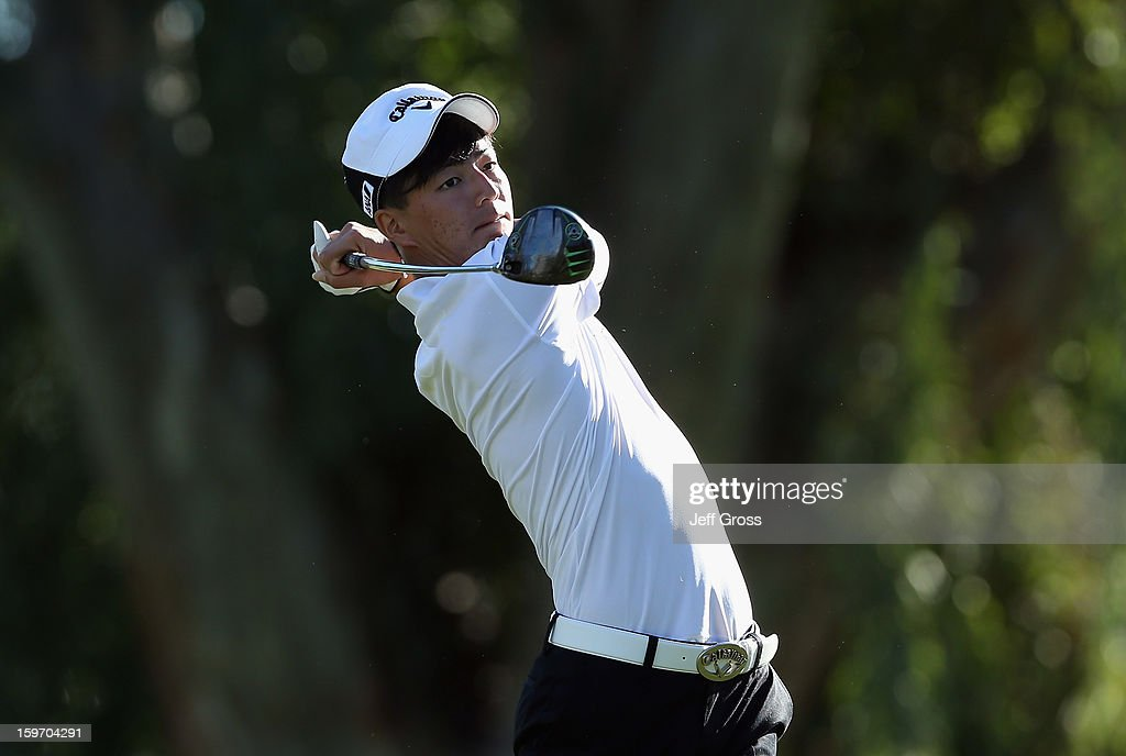 Ryo Ishikawa of Japan hits a tee shot on the 13th hole during the second round of the Humana Challenge In Partnership With The Clinton Foundation at La Quinta Country Club on January 18, 2013 in La Quinta, California.