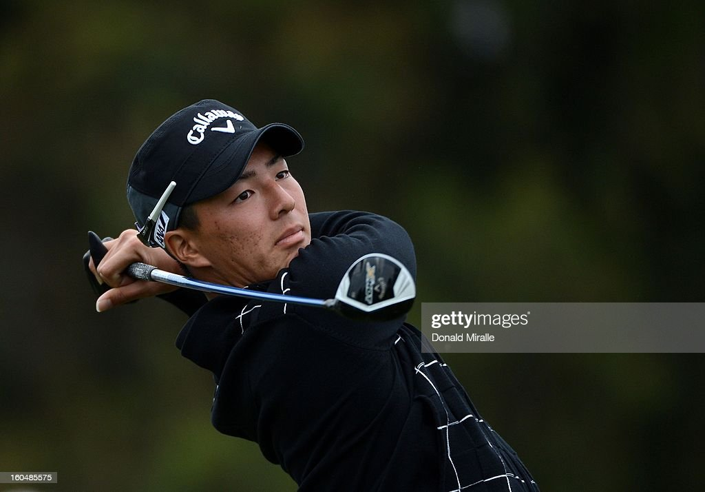 Ryo Ishikawa of Japan hits off the tee box during the First Round at the Farmers Insurance Open at Torrey Pines Golf Course on January 24, 2013 in La Jolla, California.