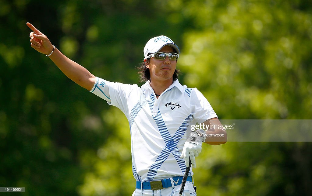 <a gi-track='captionPersonalityLinkClicked' href=/galleries/search?phrase=Ryo+Ishikawa&family=editorial&specificpeople=4297023 ng-click='$event.stopPropagation()'>Ryo Ishikawa</a> of Japan plays a shot on the 18th hole during the first round of the Memorial Tournament presented by Nationwide Insurance at Muirfield Village Golf Club on May 29, 2014 in Dublin, Ohio.