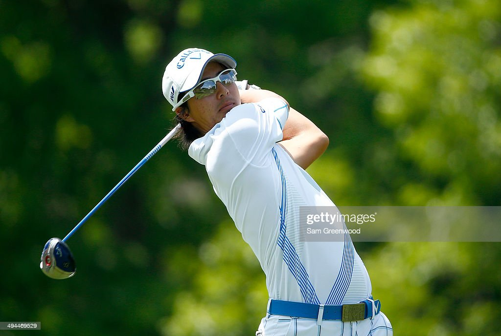 Ryo Ishikawa of Japan plays a shot on the 18th hole during the first round of the Memorial Tournament presented by Nationwide Insurance at Muirfield Village Golf Club on May 29, 2014 in Dublin, Ohio.