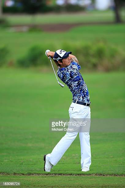 Ryo Ishikawa of Japano hits a shot during the final round of the Webcom Tour Championship held on the Dye's Valley Course at TPC Sawgrass on...
