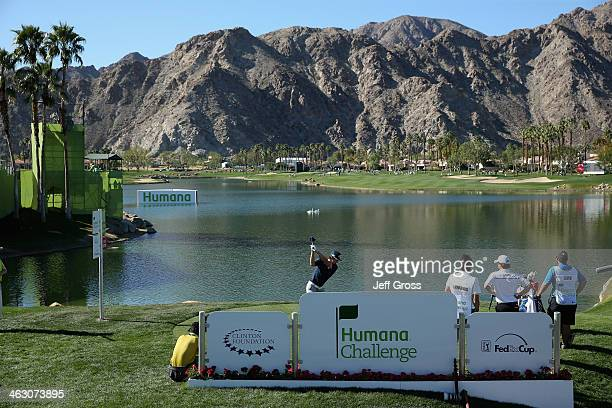 Ryo Ishikawa tees off at the tenth hole on the Arnold Palmer Private Course at PGA West during the first round of the Humana Challenge in partnership...