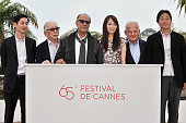 Ryo Kase Tadashi Okuno Abbas Kiarastami and Rin Takanashi and Marin Karmitz at the photo call for 'Like Someone in Love' during the 65th Cannes...