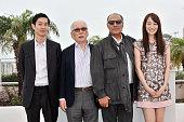 Ryo Kase Tadashi Okuno Abbas Kiarastami and Rin Takanashi at the photo call for 'Like Someone in Love' during the 65th Cannes International Film...